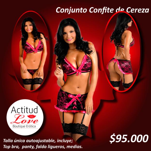 conjunto sensual tentación cereza; sex shop cucuta, tienda erotica cucuta, sex shop colombia, tienda erotica colombia, sex shop bogota, tienda erotica bogota